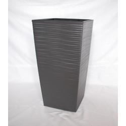 Doniczka finezja dłuto z wkładem 30x30,  H 57cm GRAFIT METALIK