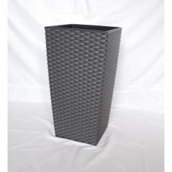 Doniczka finezja rattan z wkładem 19x19, H 36 cm GRAFIT METALIK