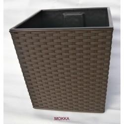 LAMELA Juka rattan doniczka z wkładem 30x30 H30 MOKKA