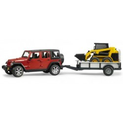 BRUDER 02925 Jeep Wrangler z lawetą i miniład CAT