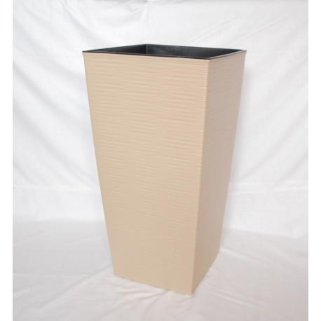 Doniczka finezja dłuto z wkładem 30x30,  H 57cm CAPPUCINO
