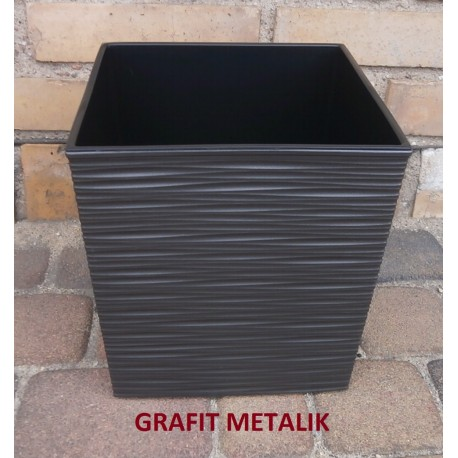 LAMELA juka dłuto donica z wkładem 25x25 H 25 GRAFIT METALIK